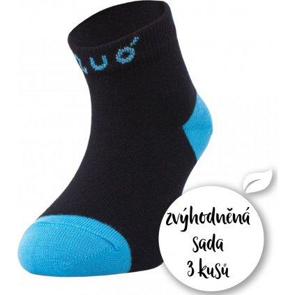 Sada 3 párů vel.19/22 UNUO bambusové kotníčkové ponožky černé s tyrkysovou