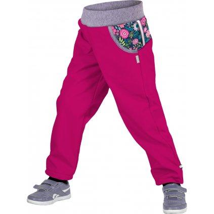 Dětské funkční kalhoty UNUO Květinky, malinová