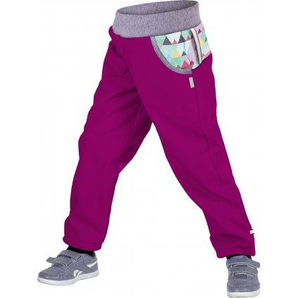 Dětské funkční kalhoty UNUO Maxi trojúhelníčky, ostružinová