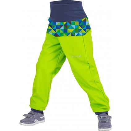 Batolecí softshellové kalhoty s fleecem UNUO Triangl Limetkové kluk
