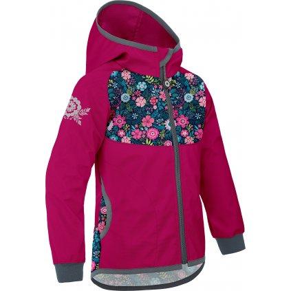 Softshellová bunda bez zateplení UNUO Květinky malinová