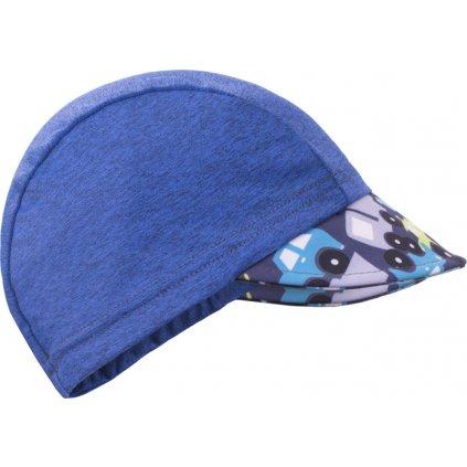 Funkční čepice s kšiltem UNUO UV 50+Autíčka, tm. modrá