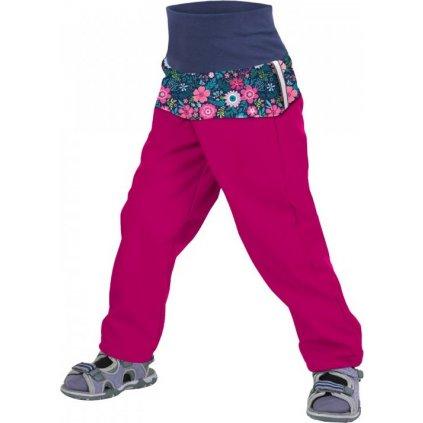 Batolecí softshellové kalhoty bez zateplení UNUO malinová, květinky, II. jakost