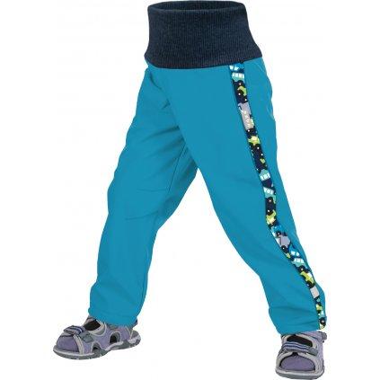Batolecí softshellové kalhoty bez zateplení UNUO, modrozelená aqua, autíčka