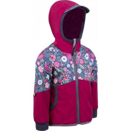Softshellová bunda bez zateplení UNUO Street, malinová, květinky