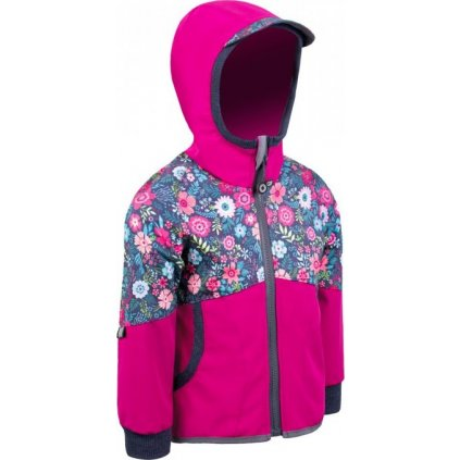 Dětská softshellová bunda UNUO Street bez zateplení, tmavě růžová květinky
