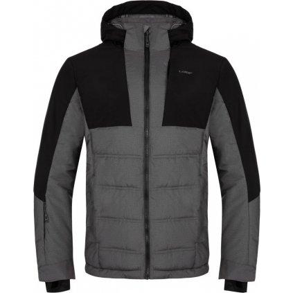 Pánská lyžařská bunda LOAP Otelo šedá žíhaná | černá