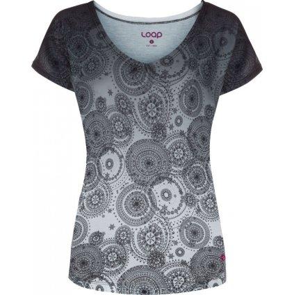 Dámské triko LOAP Adonia černá celopotisk | bílá
