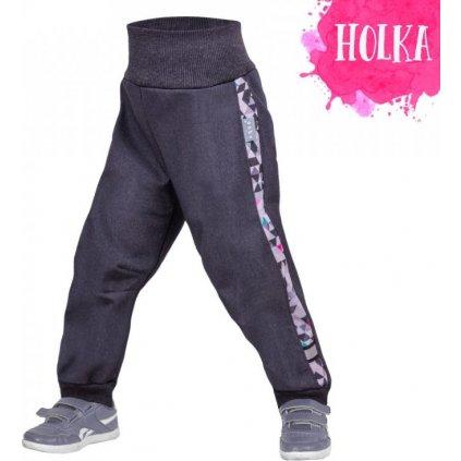 Batolecí softshellové kalhoty s fleecem UNUO Street, žíhaná antracitová, metricon holka