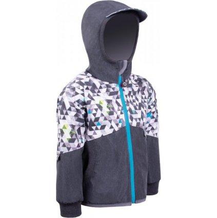 Dětská softshellová bunda s fleecem UNUO Street, žíhaná antracitová, metricon kluk