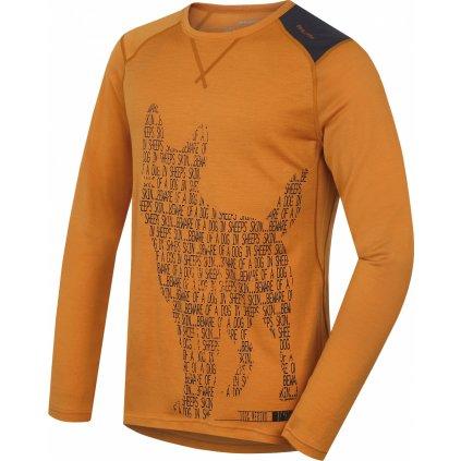 Pánské triko HUSKY Merino termoprádlo dlouhé Dog hnědooranžová