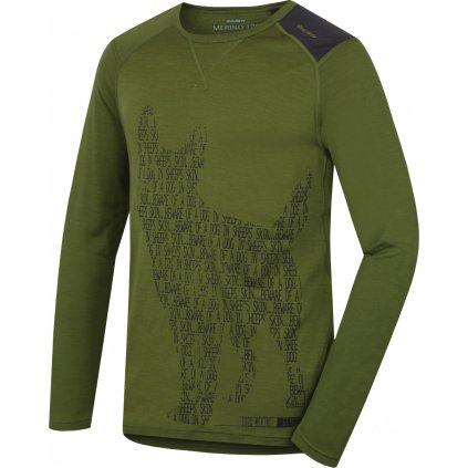 Pánské triko HUSKY Merino termoprádlo dlouhé Dog khaki