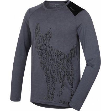 Pánské triko HUSKY Merino termoprádlo dlouhé Dog šedá
