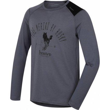 Pánské triko HUSKY Merino termoprádlo dlouhé Sheep šedá