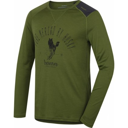 Pánské triko HUSKY Merino termoprádlo dlouhé Sheep khaki