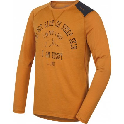 Pánské triko HUSKY Merino termoprádlo dlouhé Wolf hnědooranžová