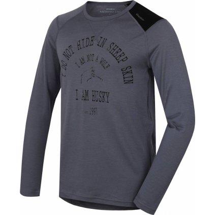 Pánské triko HUSKY Merino termoprádlo dlouhé Wolf šedá