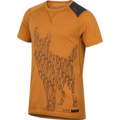 Pánské triko HUSKY Merino termoprádlo krátké Dog hnědooranžová