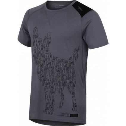 Pánské triko HUSKY Merino termoprádlo krátké Dog šedá