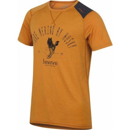 Pánské triko HUSKY Merino termoprádlo krátké Sheep hnědooranžová