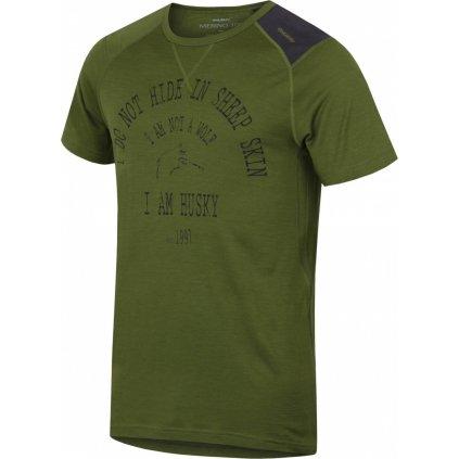 Pánské triko HUSKY Merino termoprádlo krátké Wolf khaki