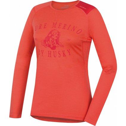 Dámské triko HUSKY Merino termoprádlo dlouhé Puppy broskvová