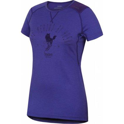 Dámské triko HUSKY Merino termoprádlo krátké šedofialová