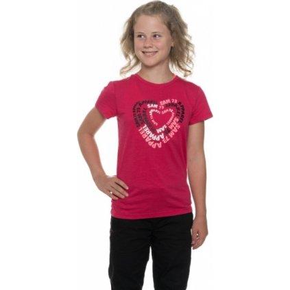 Dívčí triko s krátkým rukávem SAM 73 Malinová