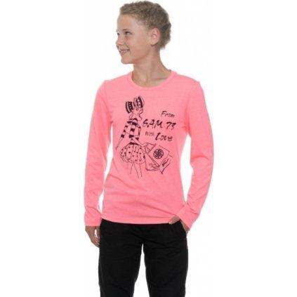 Dívčí triko s dlouhým rukávem SAM 73 Růžová