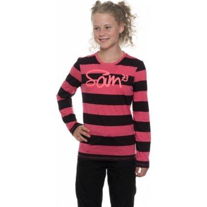Dívčí triko s dlouhým rukávem SAM 73 Malinová