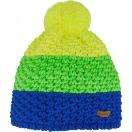 Zimní čepice RELAX Bar modrá, neon zelená, neon žlutá