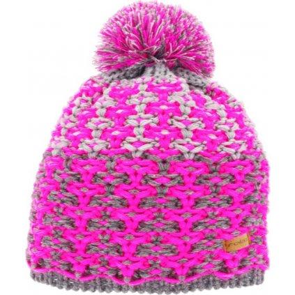 Zimní čepice RELAX Amelia růžová,šedá