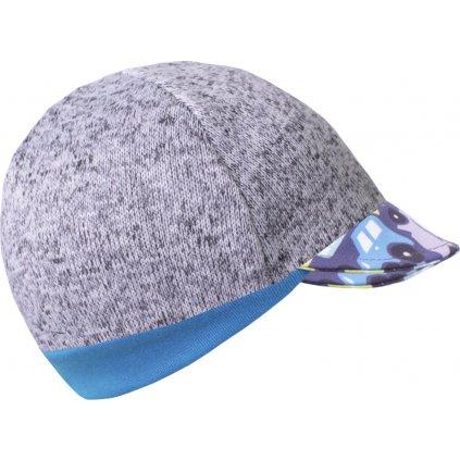 Dětská svetrovinová čepice UNUO s kšiltem, Melír sv. šedá, Autíčka
