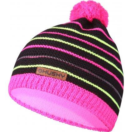 Dětská čepice HUSKY Cap 35 růžová/neon žlutá