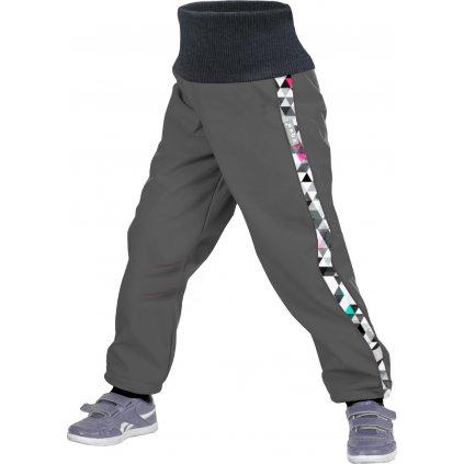 Softshellové kalhoty UNUO batolecí s fleecem Street, Tm. šedá, Metricon holka