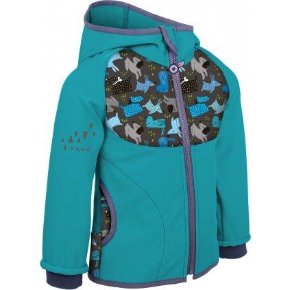 Dětská softshellová bunda UNUO s fleecem,  Smaragdová, Pejsci