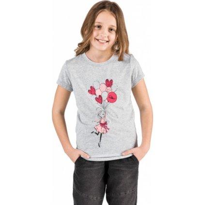 Dívčí triko SAM 73 s krátkým rukávem šedé