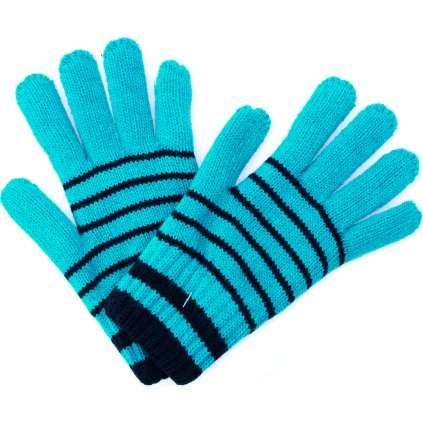 Dětské zimní rukavice UNUO Pletex Smaragdová s proužky