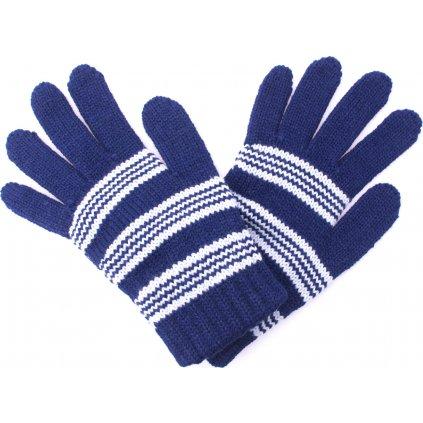 Dětské zimní rukavice UNUO Pletex Tmavě modrá se světlými proužky