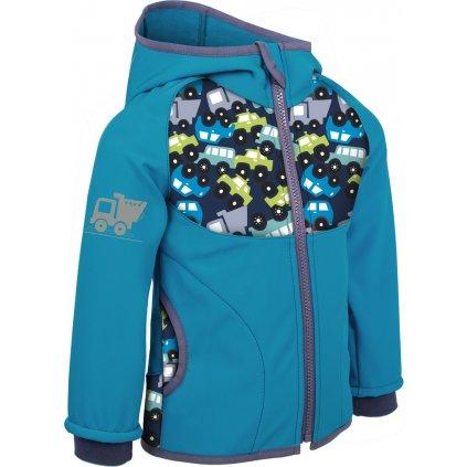 Dětská softshellová bunda bez zateplení Autíčka aqua