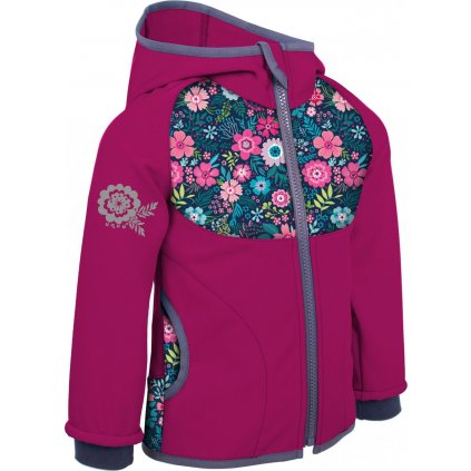 Dětská softshellová bunda UNUO bez zateplení Květinky malinová
