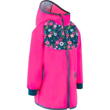 Dětský softshellový kabátek UNUO bez zateplení Květinky fuchsiová