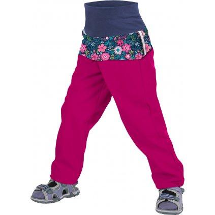 Batolecí softshellové kalhoty UNUO bez zateplení Květinky malinové