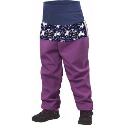 Batolecí softshellové kalhoty s fleecem UNUO Ostružinová, Jednorožci