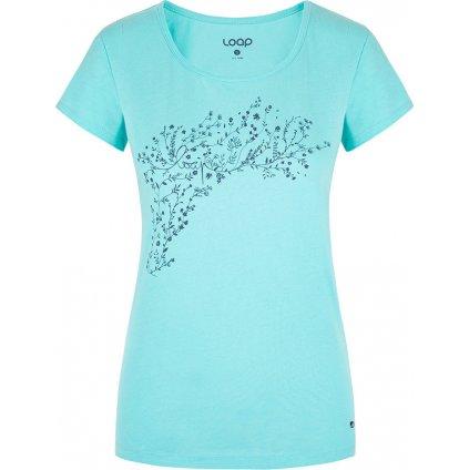 Dámské triko LOAP Bacara s krátkým rukávem modré