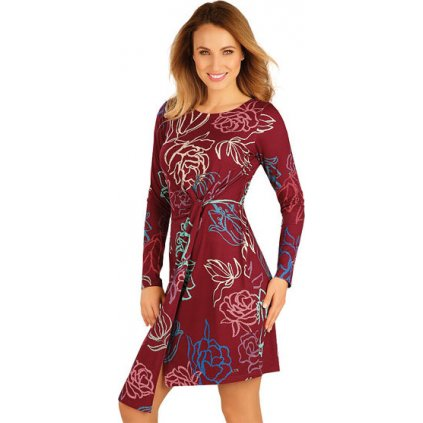 Dámské šaty LITEX s dlouhým rukávem vínová
