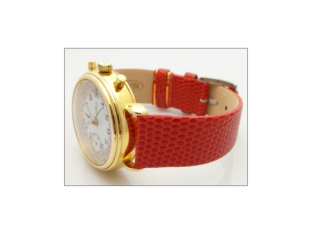 Mavex červený strukrurovaný kožený pásek se vzorem ještěrky