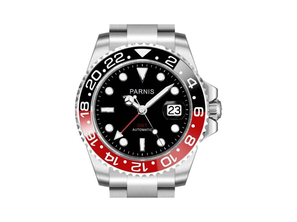 Parnis 3104 Automatic GMT Black-Red + + 1 měsíc na vrácení ... 3c1e4ed587