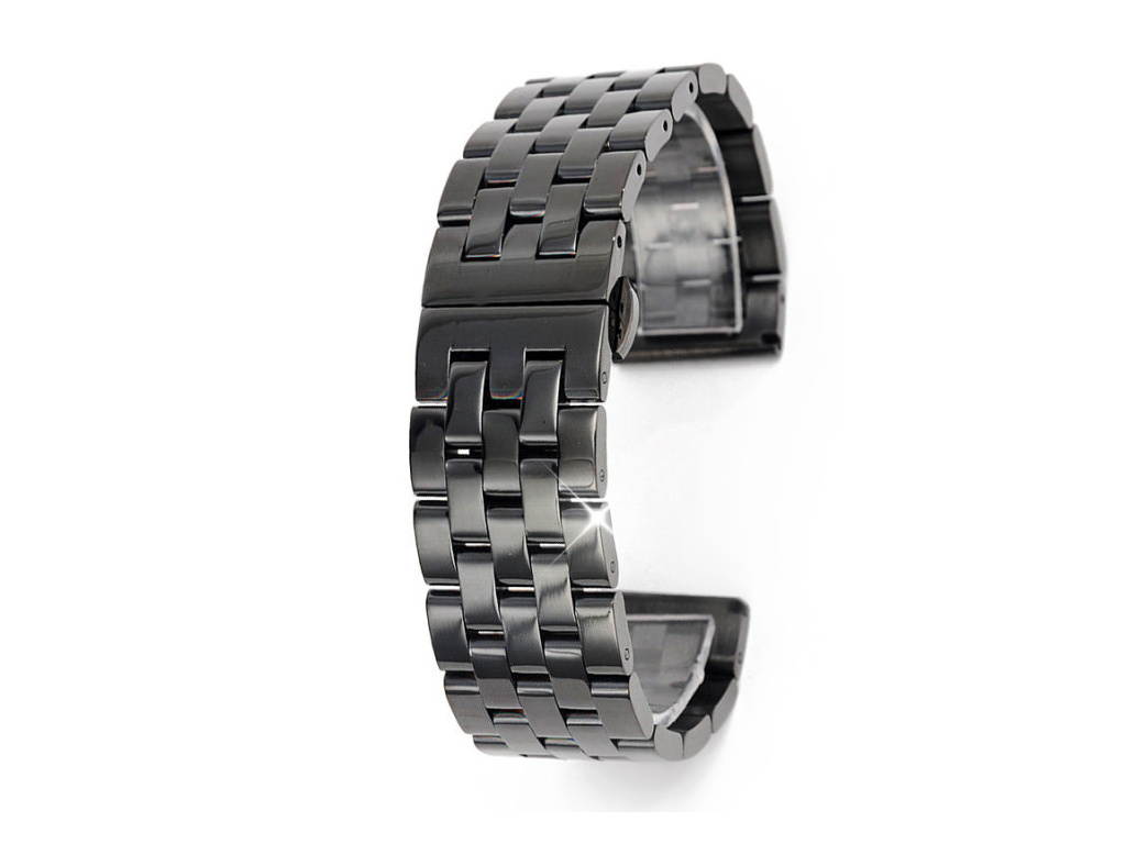Černý luxusní masivní ocelový řemínek PVD Black RZ55