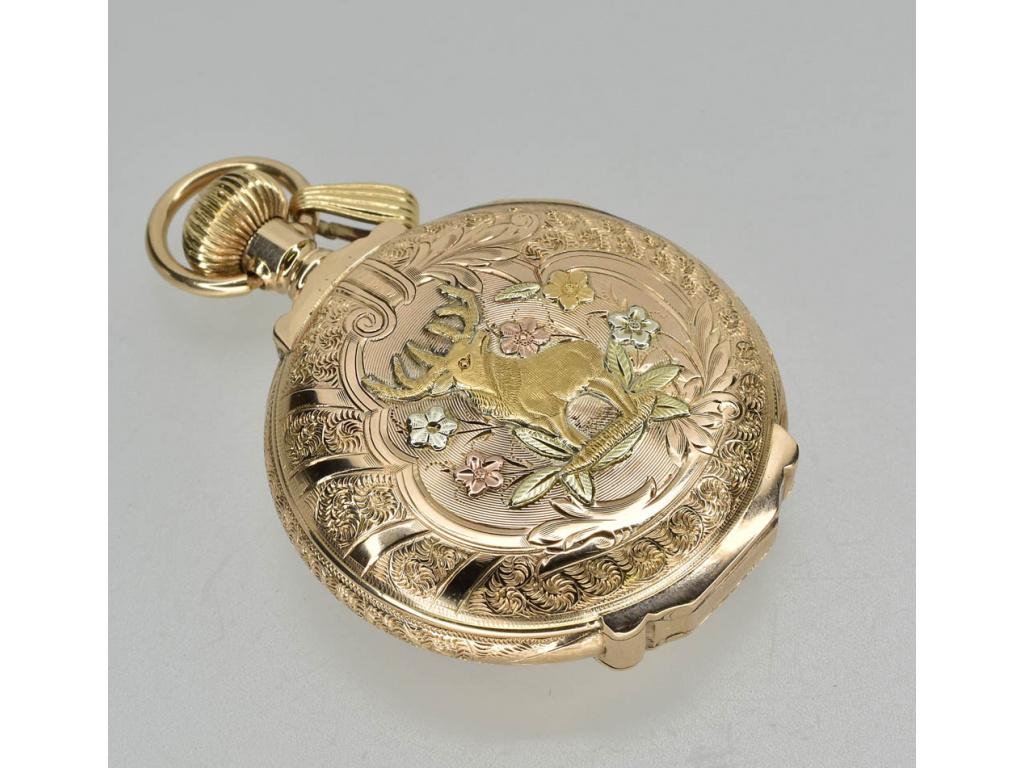 zlaté tříplášťové hodinky Waltham 16